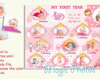 My First Year Baby Photo Collage Baby Girl Collage Gift For New Born Baby Girl Birth  Baby Girl Printable photo Photo EditingLittle Princess