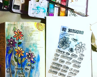 Beautiful Clear Polymer Stamp Set Dear God For Bible Journaling or Card Making