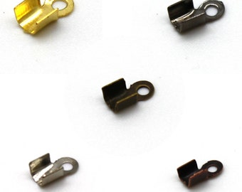 200 Folding Cord Ends - Nickel Free Iron - 3mm (inside) - Choose Silver, Gold, Bronze, Copper, or Gunmetal Black