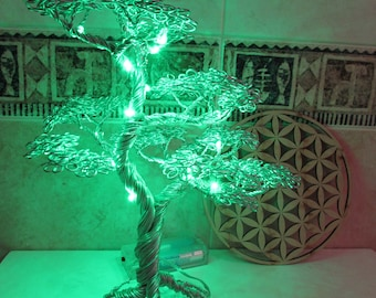 Wire Bonsai SpiriTree with green led lights