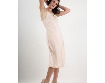 1930s bias silk slip / Vintage blush pink and lace full slip dress L XL