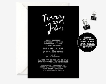 Black Wedding Invitation, Black and White Modern Invitation, Minimalist Invitation, Gifts Card Wedding, Invitation Suite, Printable, PDF