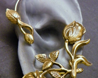 Flower and Leaf  Ear Wrap  -  ROSES for LEFT Ear -  Brass Ear Cuff Wrap