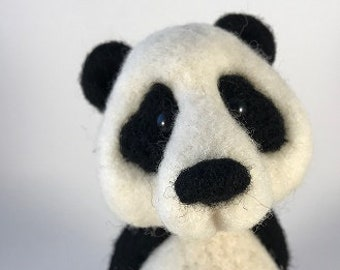 Needle Felted Wool Panda - Black and White - 100% Wool
