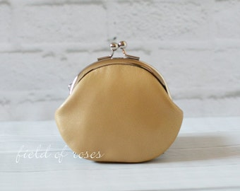 Small Leather Clasp Change Purse Coin Purse Lambskin Shimmery Gold