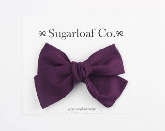 Lolli Bow | Plum | Hand Tied Bow on a Stretchy Nylon Headband or Alligator Clip