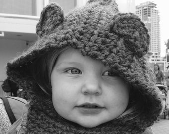 Crochet Bear Hooded Cowl // Crochet Hooded Cowl // Kids Hooded Cowl // Baby Cowl