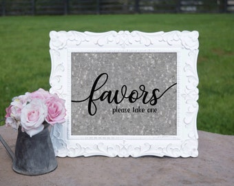 Favors Sign   PRINTED Wedding sign, Galvanized Party Decor, Wedding Signage, Party Decorations, Outdoor Wedding Decorations, Rustic wedding