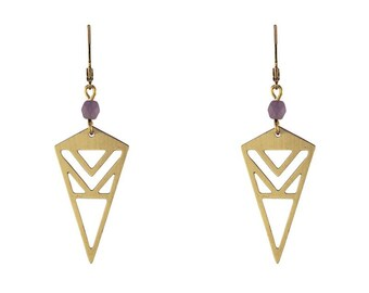 Gold triangle with cutouts earrings with taupe beads