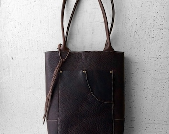 Handcrafted Leather Tote Bag, purse, Handbag in Dark Brown.