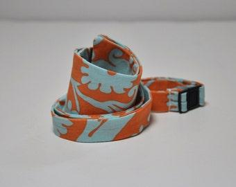 Freestyle Bowtie for Men Orange and Aqua Damask