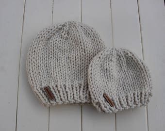 Matching Beanie Set - Mommy and Me - Daddy and Me - Best Friends - Matching Hats - Knit Hat - Made To Order - Handmade - Knitted