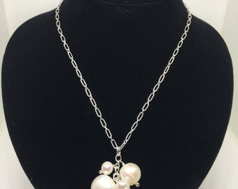 Pearl Necklace, Sterling Silver, Bridal, Wedding, June Birthstone, Gift For Her, Gift For Women, Chain, Bridesmaid Gift, Gift, Sale