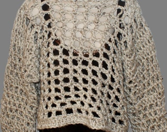 Plus Clothing, Oatmeal Sweater, Plus Size Sweater, Chunky Pullover, Womans Top, Bulky Sweater, Crochet Top, Mesh Sweater, Chunky Jumper