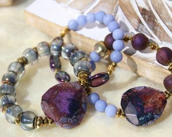 "Purple Agate Slab Bracelet Set, 3 Stretch, Purple Druzy Agate, Purple Indigo Jade, Purple Quartz, Gold Hematite, Czech Glass Beads, 7"""