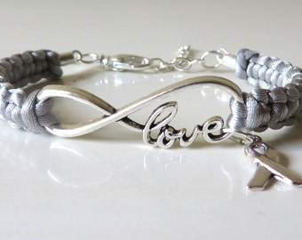 Grey Awareness Ribbon LOVE Macrame Charm Bracelet Brain Cancer Brain Tumor Brain Injury Diabetes Asthma Awareness Parkinsons Disease