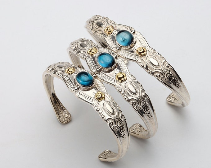 Silver Spoon Bangle   Silverware Bracelet   Floral Silver Bangle   Gold Rose Bracelet   Cutlery Bracelet   Blue Topaz Bangle   Spoon Jewelry