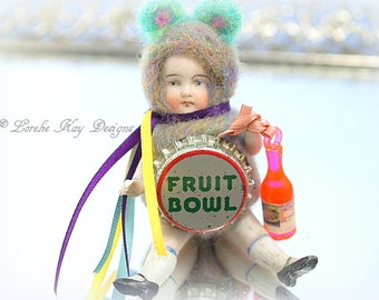 Fruit Bowl Soda Pop Bear Needle Felted Doll Anthropomorphic Art Doll German Doll Parts Dollhouse Doll Lorelie Kay Original
