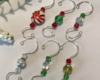 Christmas Ornament Hook Assortment ~ Beaded Hooks ~ Unique ~ Gift Packaged