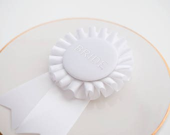Bride Button, Bachelorette Pin, Bach Party Button, Bride to Be Rosette, Wedding Shower Pin, Silver Bride Button, Bachelorette Party