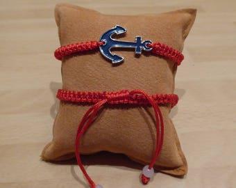 Anchor Friendship Bracelet-new-with enameled pendant