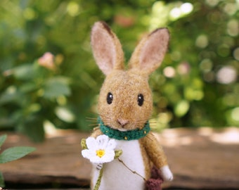Needle felted wild rabbit with a flower/handmade/poseable/decoration/gift/soft sculpture/ornament/ooak