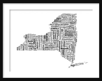 New York Typography Map Tyographical Map Poster Print