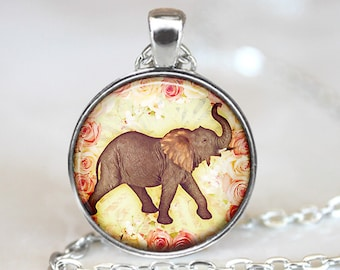 Elephant Pendant, Elephant Necklace, Elephant Jewelry, Elephant Art Pendant, Elephant Trunk and Roses Pendant, Bronze, Silver Pendant, 235