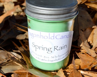 Spring Rain 8oz Hand Poured Candle, Soy-Paraffin, Triple Scented