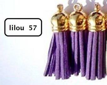60 mm purple + gold tassel charms pendants