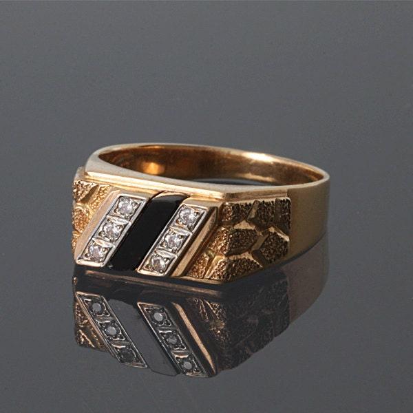 Signet ring men Gold ring men 14k gold men ring 14k gold
