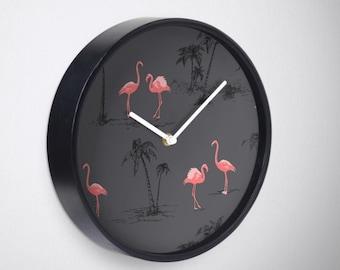 Flamingo Print Decorative Wall Clock - palm tree print - wall clock - homeware - interior decor - decorative clock - marble clock - modern