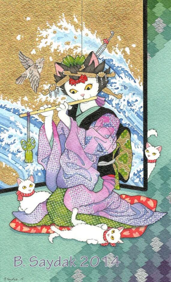 Ukiyoe Kimono Cat Tarot Card Judgement 78Tarot Original SFA