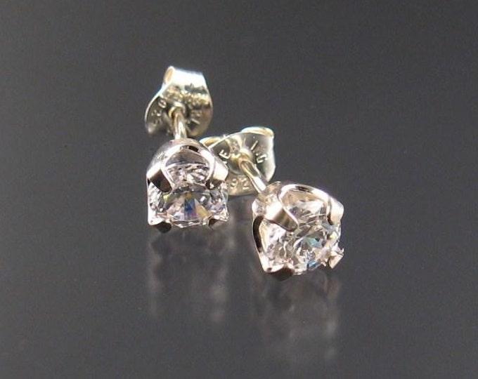 White CZ post earrings, Sterling