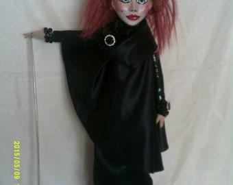 Verushka,original art doll,individually sculpted paperclay head,painted in acrylics,cloth body