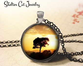 """Tree at Sunset Necklace - 1-1/4"""" Circle Pendant or Key Ring - Handmade Wearable Photo Art Jewelry - Nature Art, Sunrise, Silhouette Gift"""