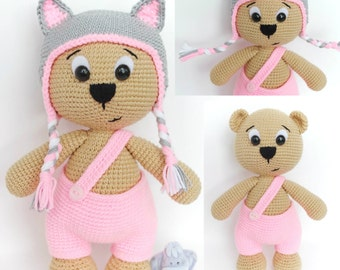 Pattern Bear with Cat cap, amigurumi crochet bear, crochet bear pattern, amigurumi PDF pattern, bear pattern, Instant download