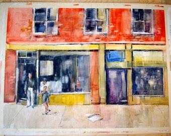"Street Scene Signed Jack Barrett Original Watercolor Painting RARE 20"" x 30"" Fine Art Colorful Home House Wall Decor St. Petersburg Florida"