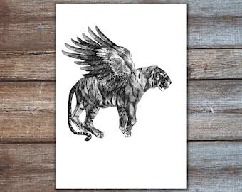 tiger with wings, tiger illustration - tiger art print - tiger poster