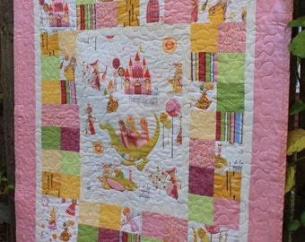 Princess and Dragon Baby Girl Quilt with Stuffed Dragon Toy // Baby Gift // Gift for Babies// Baby Shower Gift // Toddler Quilt