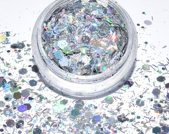 100g/93,33Euro-bag glitter mix sparkle powder sequin hexagon Silver 3g Tinker Holographic NEW