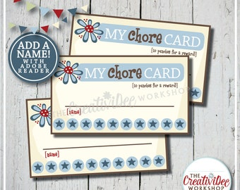 Chore Punch Cards | Punch Cards for Chores | Editable Name | Chore Tracker | Blue | Children's Cards | Boy Punch Cards | Instant Download