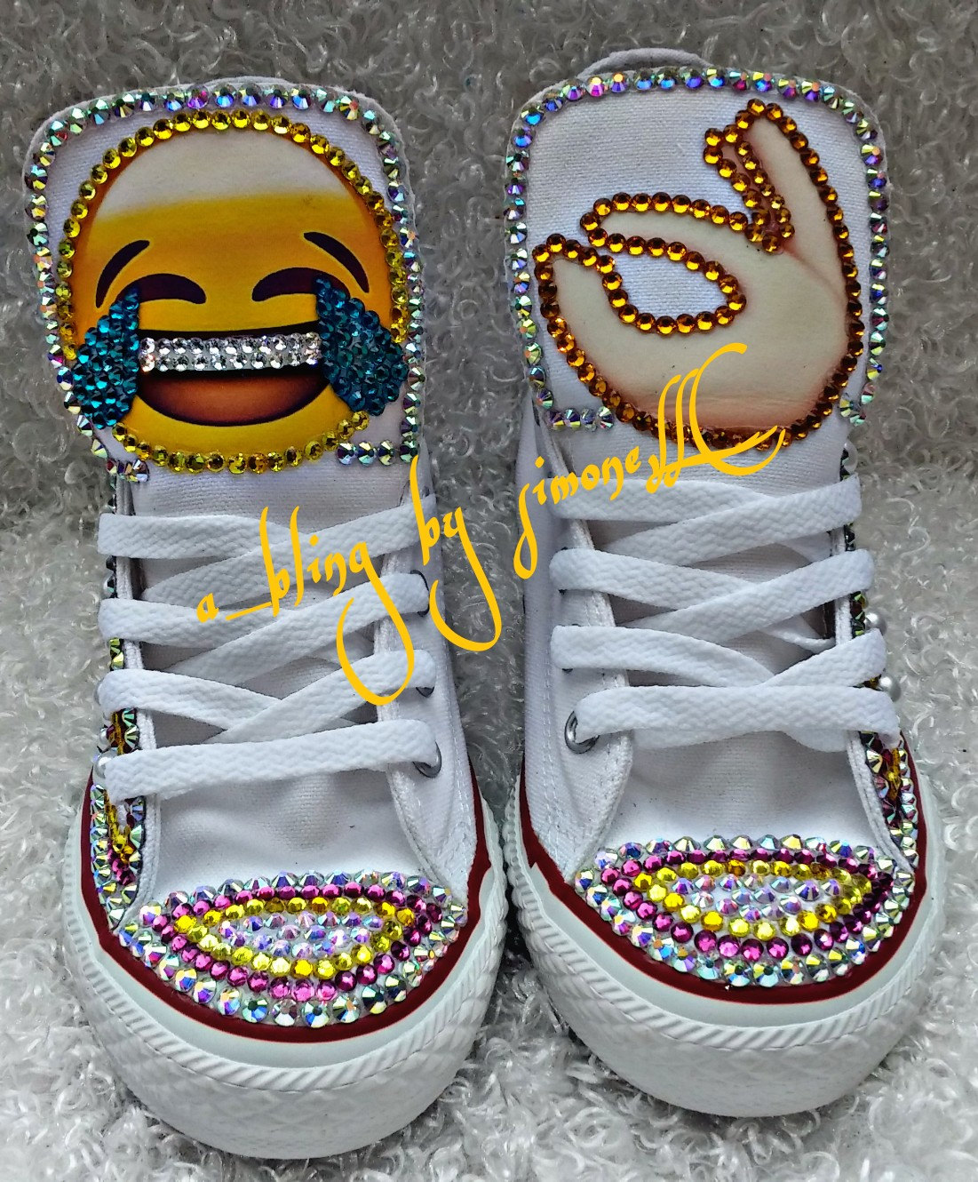 Custom bling and pearls emoji converse and FREE matching t