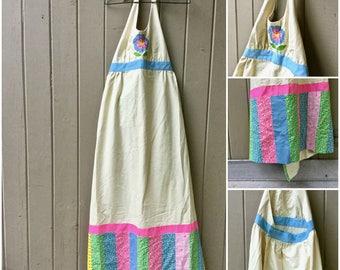 Full Apron, Patchwork Apron, Full Length Apron, Long Bib Apron, Handmade Muslin Apron, Pinafore Apron, Calico Quilt Apron, 1970's Apron