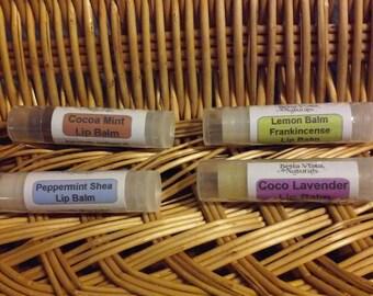 Natural Lip Balm - Herbal Remedy - Lavender - Cocoa Mint - Peppermint - Lemon Balm