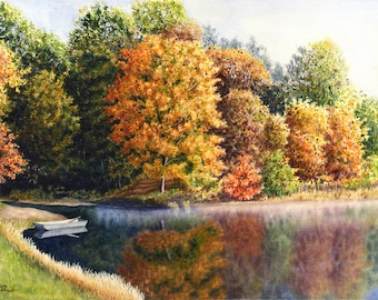 Autumn Landscape Original Watercolor Painting by Cathy Hillegas, 16x21.5, watercolor lake landscape, lake house decor, Fathers Day fishiing