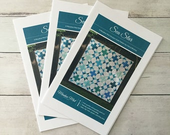 Sea Star - printed quilt pattern - fat quarter, 1/4 yard, and scrap friendly - baby, lap, twin, queen, and king sizes