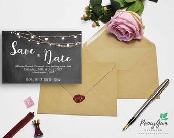 Save the Date – Beautiful Barbara - DIY Printable Wedding Stationery, Editable PDF