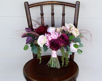Burgundy Marsala Wedding Bouquet | Moody, Romantic Pink Mauve Silk Flower and Dried Grasses Bridal Bouquet | SG-1061