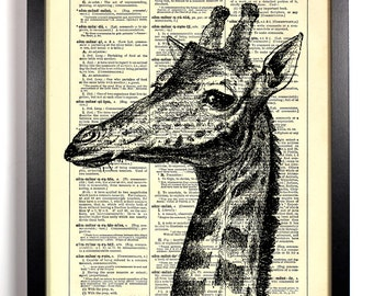 Peeping Giraffe, Home, Kitchen, Nursery, Bathroom, Office Decor, Wedding Gift, Eco Friendly Book Art, Vintage Dictionary Print, 8 x 10 in.